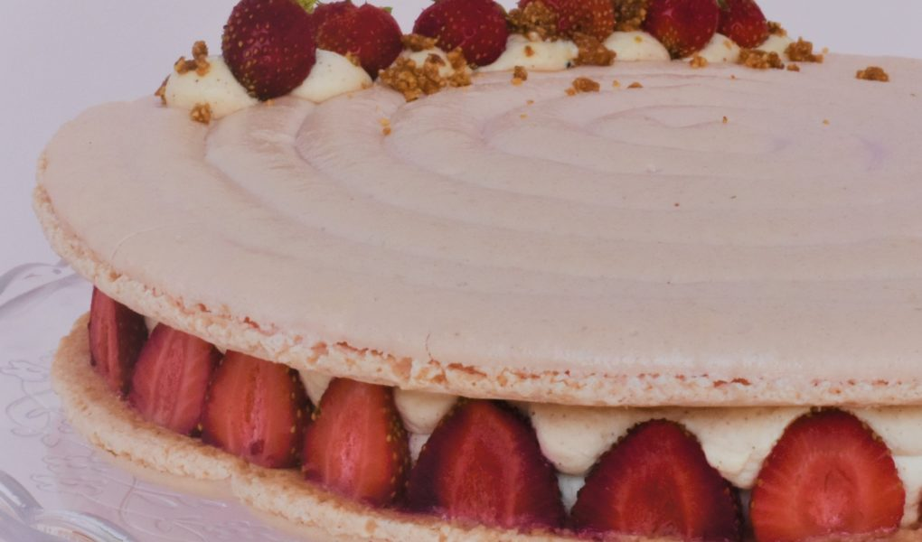 gateau macaron fraisier